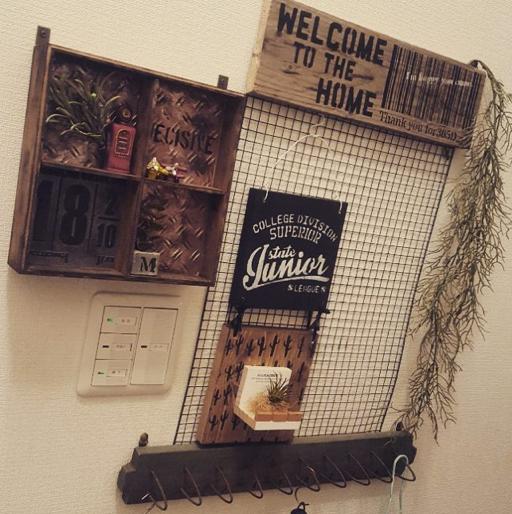 焼き網で作った飾り棚